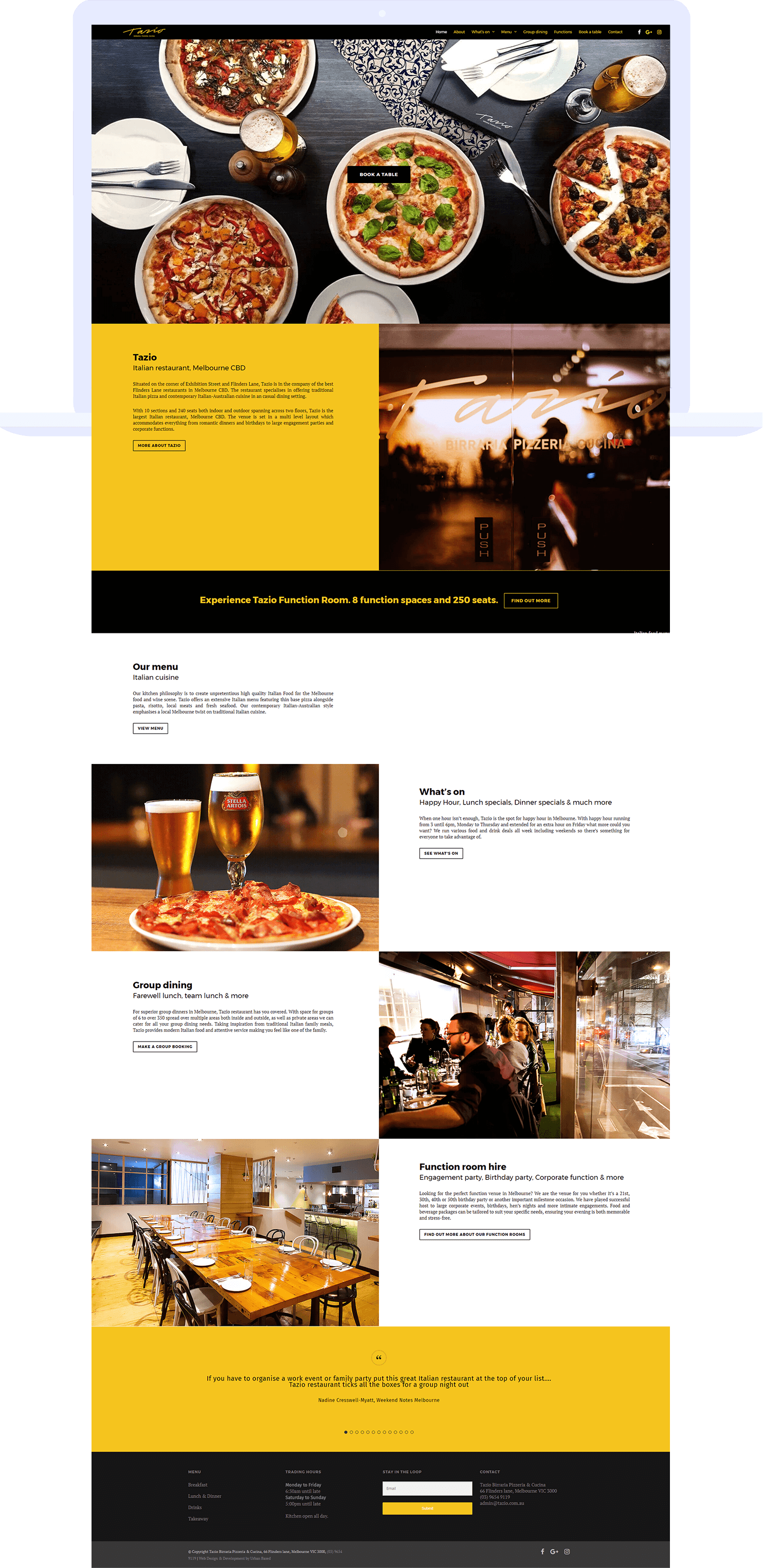 Tazio Restaurant - website design, social media management & AdWords advertising - Urban Based Portfolio